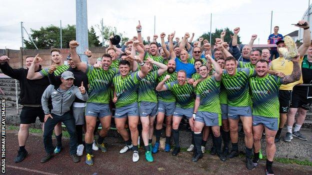 West Wales Raiders celebrate victory Coventry Bears