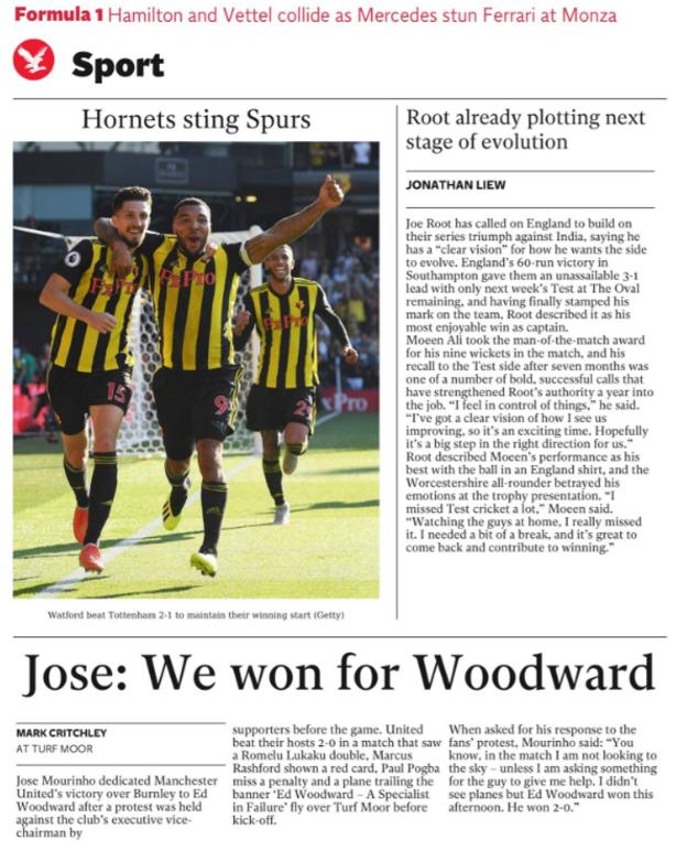 The Independent leads on Mourinho dedicating the win at Burnley to executive vice chairman Ed Woodward