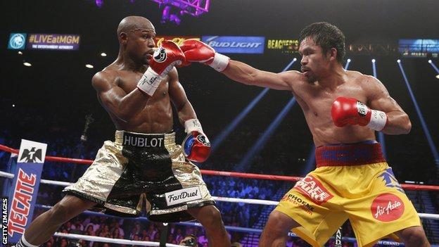 Floyd Mayweather and Manny Pacquiao in the ring during their 2015 fight