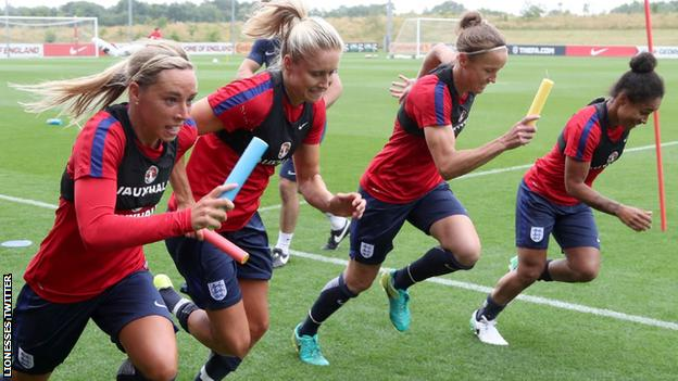The Lionesses training at St George's Park