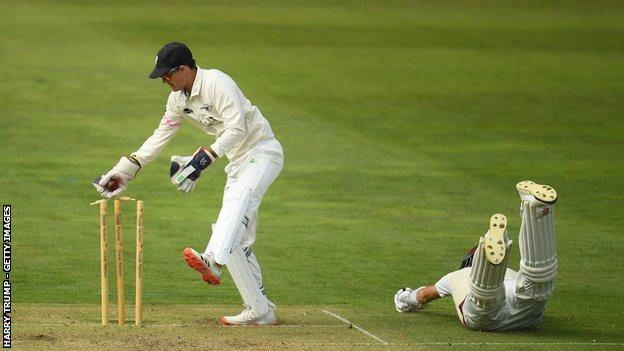 sports Somerset's Craig Overton survived this near run-out by Gareth Roderick in the derby game with Gloucestershire but his tail was up by the end of the day at Taunton with two wickets