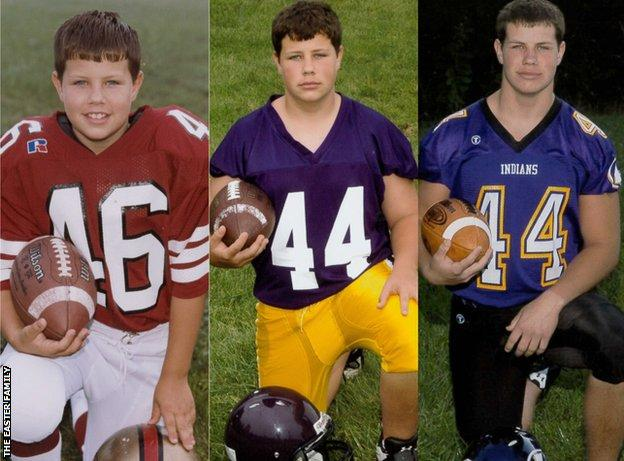 Zac Easter - pictured at three different ages during his high school football career
