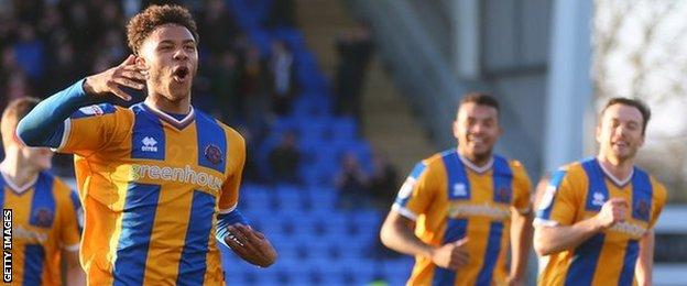 Tyler Roberts in action for Shrewsbury Town