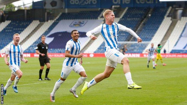 Emile Smith Rowe celebrates scoring for Huddersfield against West Brom