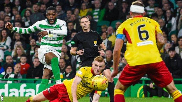 Olivier Ntcham scores for Celtic against Partick Thistle