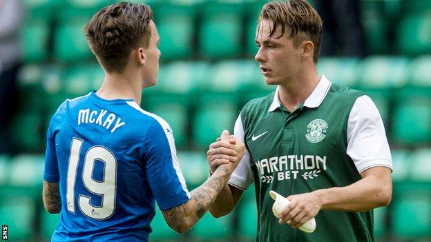 Rangers' Barrie McKay and Scott Allan shake hands on Saturday