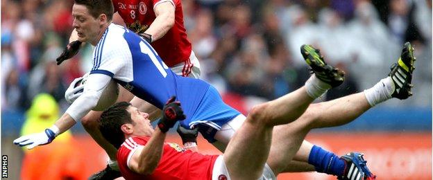 Monaghan's Conor McManus was dragged down by Sean Cavanagh in a controversial incident during the 2013 All-Ireland quarter-final