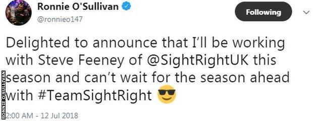Ronnie O'Sullivan tweet