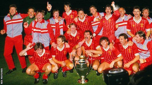 Liverpool celebrate their 1984 European Cup win