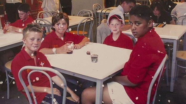 Billy Vunipola (right) with Harry Robinson (second left) and East Wales Schools Under-11s