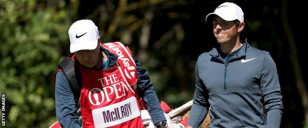 Rory McIlroy with caddie JP Fitzgerald at Royal Birkdale on Thursday