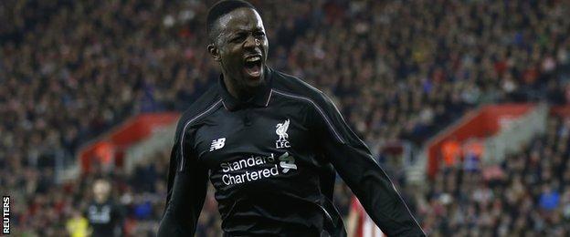 Divock Origi celebrates for Liverpool