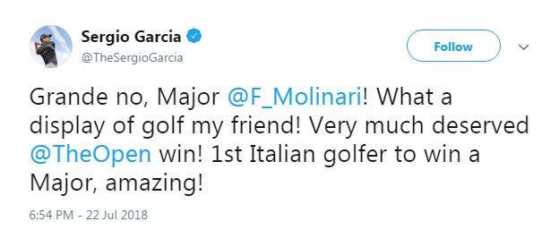 Sergio Garcia congratulates Francesco Molinari