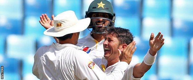 Yasir Shah celebrates a wicket