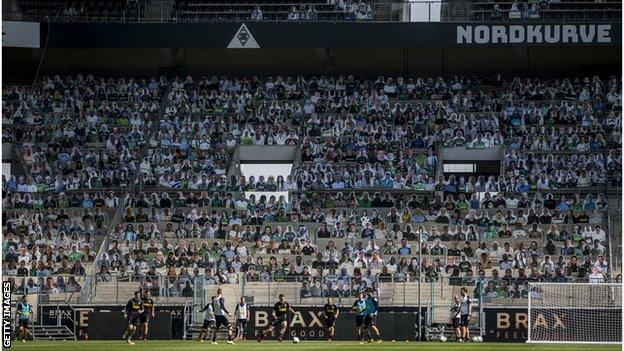Borussia Monchengladbach are filling their stands with cardboard cut-outs of fans
