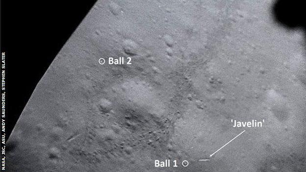The position of the two golf balls on the Moon