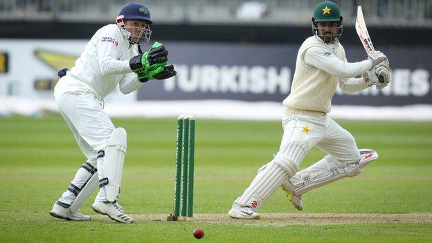 Pakistan batsman Shadab Khan hits a crisp shot on his way to an unbeaten 52 at the close