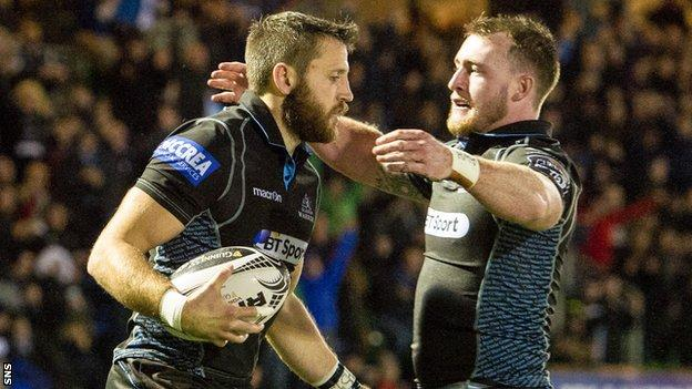 Stuart Hogg helps Tommy Seymour celebrate a recent try against Ulster