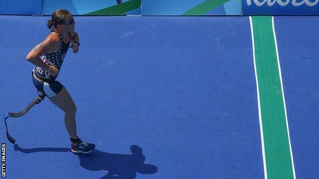 Melissa Stockwell of the United States competes in the run of the women's triathlon T2 at the Rio Paralympic Games