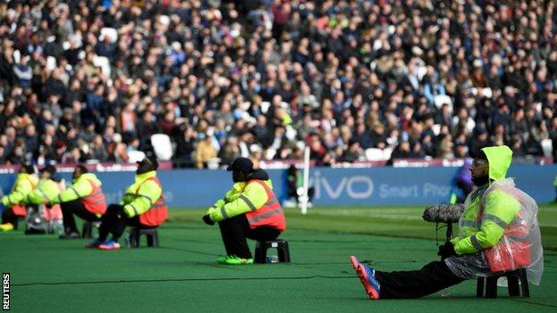 Security at the London Stadium on Saturday