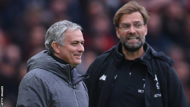Jose Mourinho shares a joke with Jurgen Klopp when Manchester United played Liverpool in March 2018