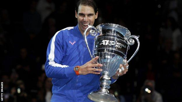 Rafael Nadal with the end-of-year world number one trophy