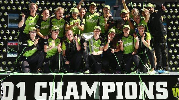 Sydney Thunder celebrate with the Women's Big Bash League trophy