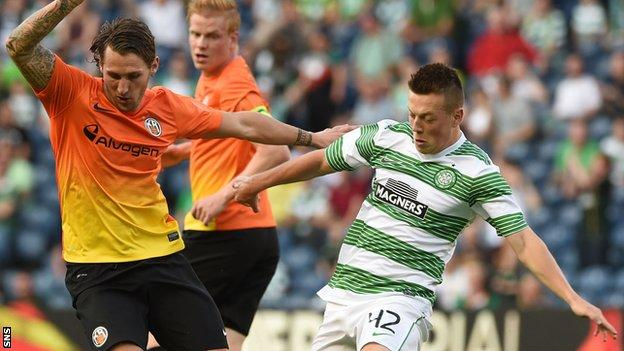 Callum McGregor playing for Celtic against Reykjavik in 2014