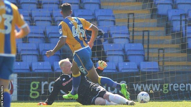 Stefan Payne scored the first of his two goals on loan at Shrewsbury last season in the 1-0 home win over Rochdale