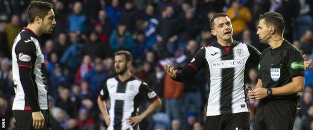 St Mirren's players show their frustation as the referee awards the fourth penalty of the game