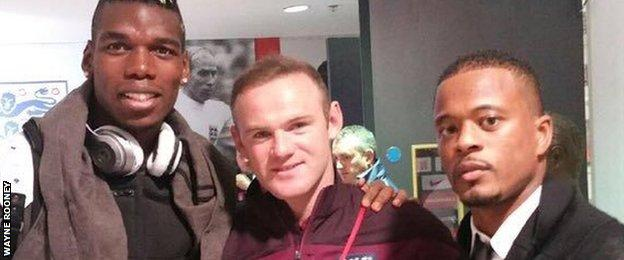 Paul Pogba, Wayne Rooney and Patrice Evra