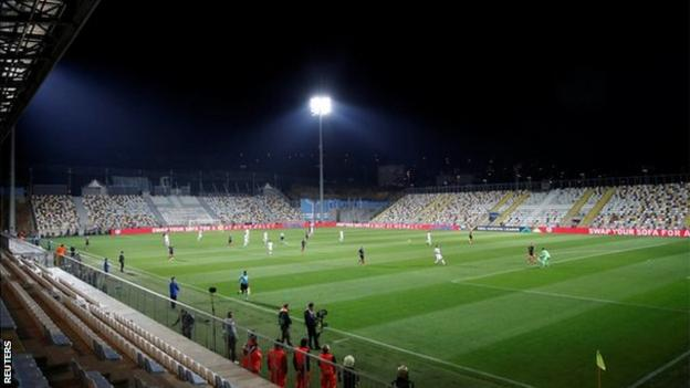 England play Croatia in front of an empty stadium in Rijeka