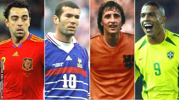 Xavi, Zinedine Zidane, Johan Cruyff and Ronaldo
