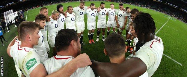 England huddle after win over Australia
