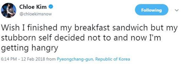 Chloe Kim tweet