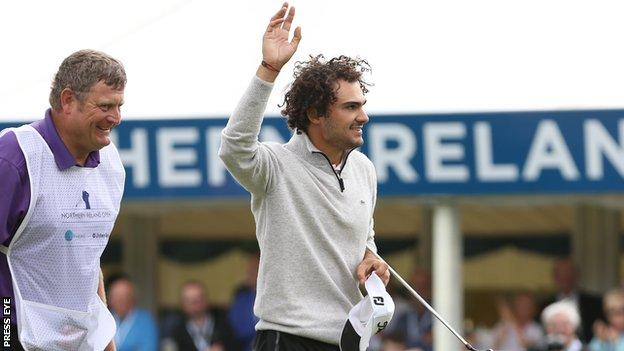 Clement Sordet celebrates his victory at the NI Open