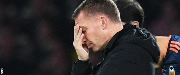 Celtic manager Brendan Rodgers shows the strain as his team are beaten by Valencia
