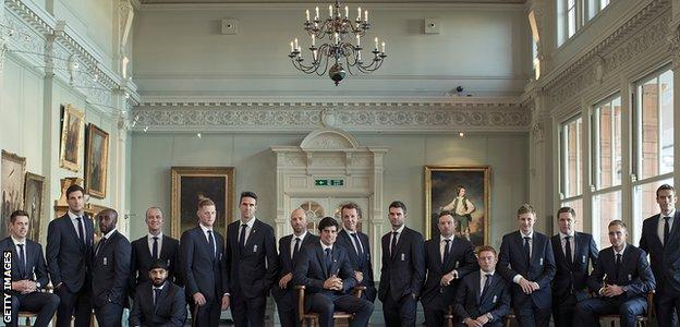 The England team which toured Australia in 2013-14 took part in this photo shoot at Lord's