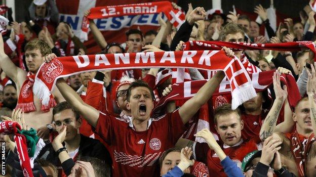 Denmark fans celebrate