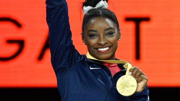 Simone Biles: American equals World Championships record with 23rd medal