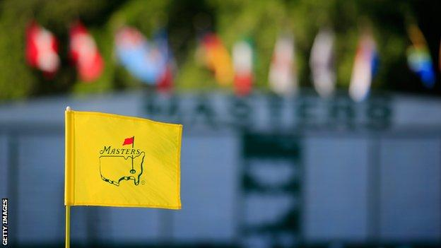 The Masters flag and scoreboard