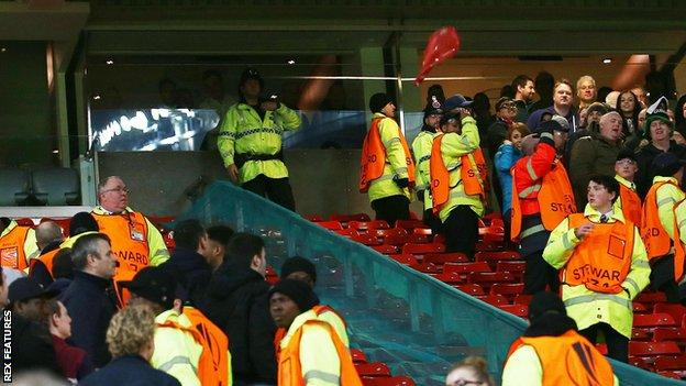 seats were thrown at Old Trafford