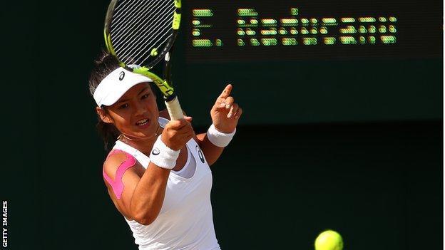 Emma Raducanu plays in 2017 Wimbledon girls' singles