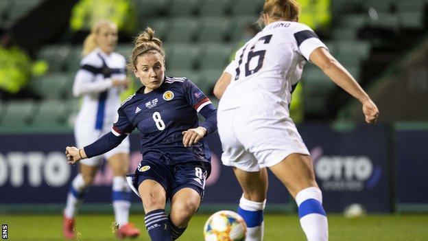 Kim Little has a shot for Scotland against Finland