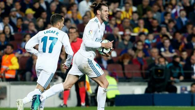 Real Madrid's Gareth Bale celebrates scoring a goal against Barcelona