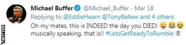 Boxing MC Michael Buffer mocks Eddie Hearn's performance in the cheer up challenge.