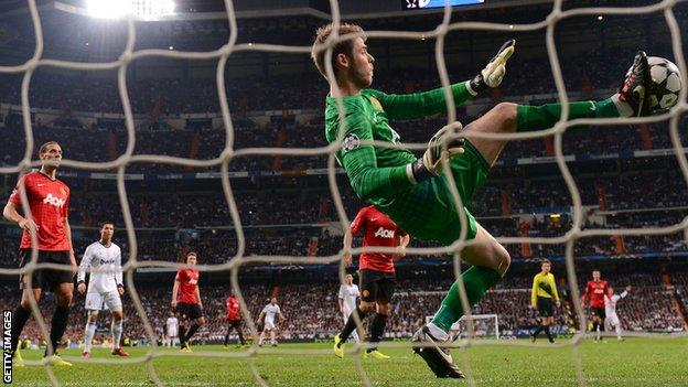 Manchester United's David de Gea makes a save against Real Madrid