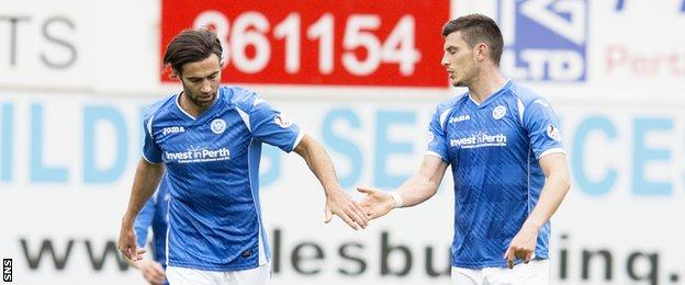 Simon Lappin (left) celebrates his goal with fellow scorer Graham Cummins