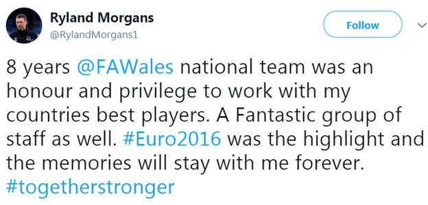 Ryland Morgans announces his departure from being Wales' head of performance