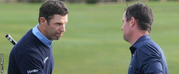 Caldwell (right) was playing alongside Welshman Bradley Dredge (left), who also finished in a tie for 17th
